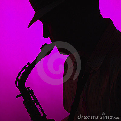 Man Playing Saxophone in Silhouette