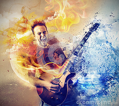 Free Man Playing The Guitar Stock Image - 37016791