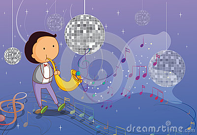 A man playing the trumpet with disco lights