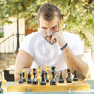 Free Man Plays Chess. Stock Photography - 33727912
