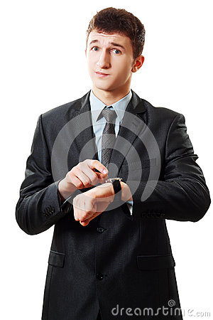 Free Man Pointing At His Watch Stock Images - 30388494