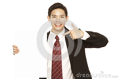 Man Pointing at Blank Message
