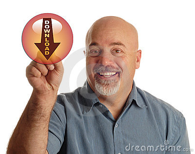Man pointing at download icon