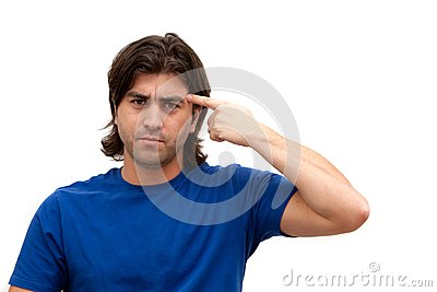 Man pointing finger at head