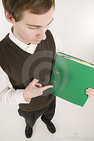 Man pointing at green folder