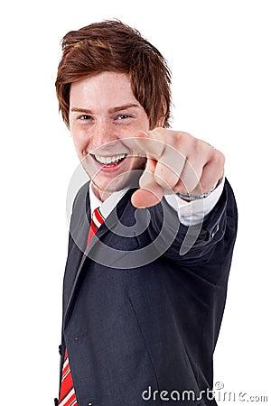 Man pointing to camera