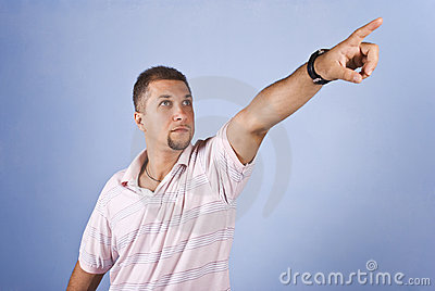 Man  pointing to future