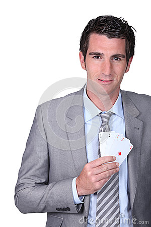 Man with poker cards
