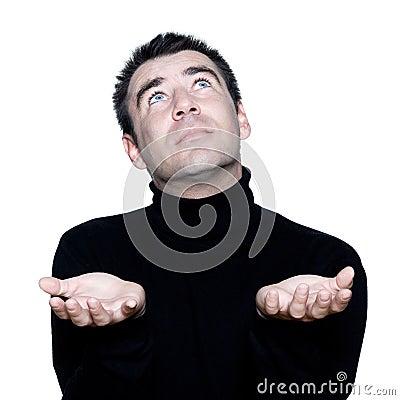 Man ponder praying looking up