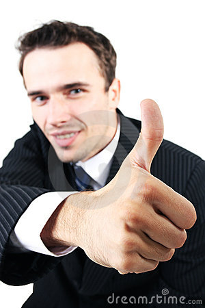 Man portrait, businessman showing sign ok allright