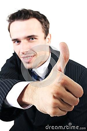 Man portrait, businessman showing sign ok allright