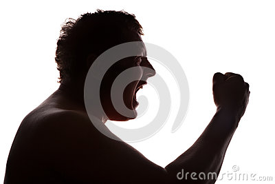 Man portrait silhouette profile screaming