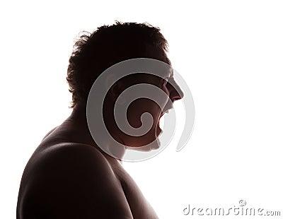 Man portrait silhouette profile screaming