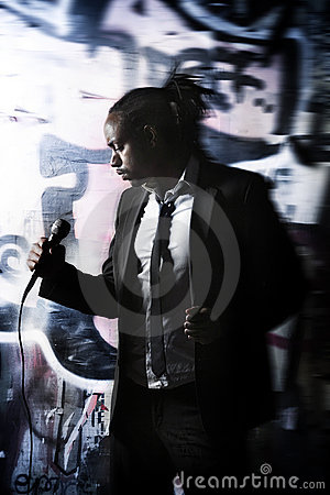 Man posing with a microphone