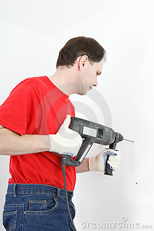 Man with power drill