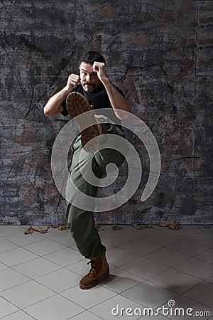 Man practice martial arts