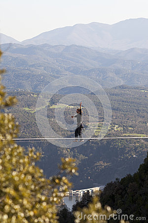 Man practicing Highline Editorial Image