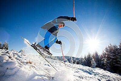 Man practising extreme ski