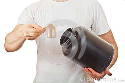 Man preparing his post workout protein shake