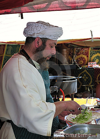 Man Preparing a Kebab