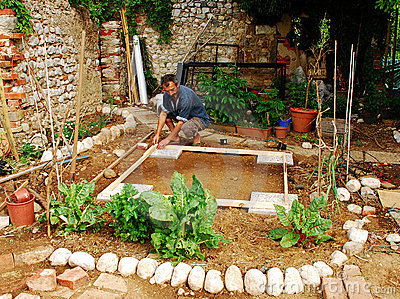Man Preparing Land Garden Shed