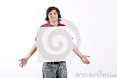 Man presenting a blank board