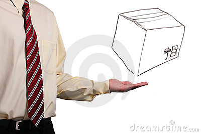 Man presenting a box