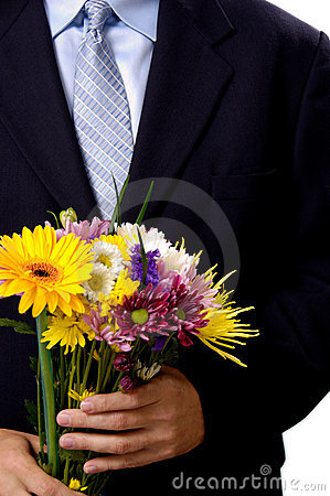 Man presenting flowers