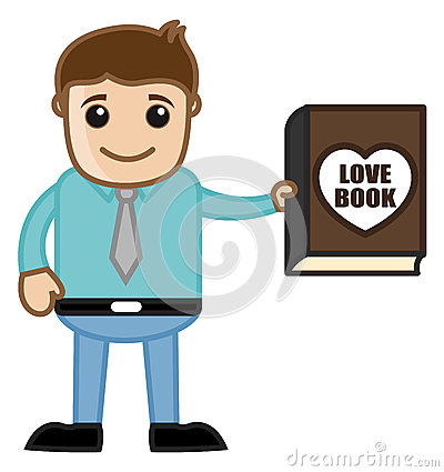 Man Presenting a Love Book Vector Illustration