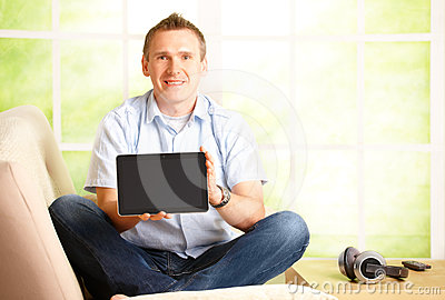 Man presenting tablet