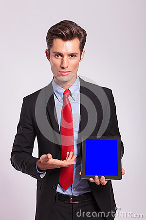 Man presenting a tablet