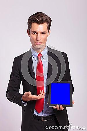 Man presenting a tablet