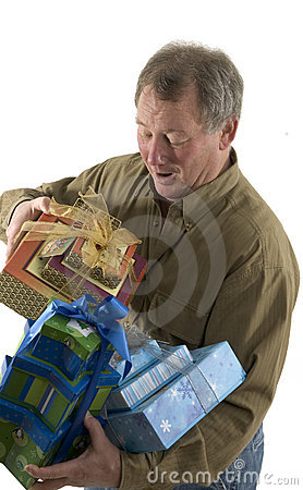 Man with presents gifts