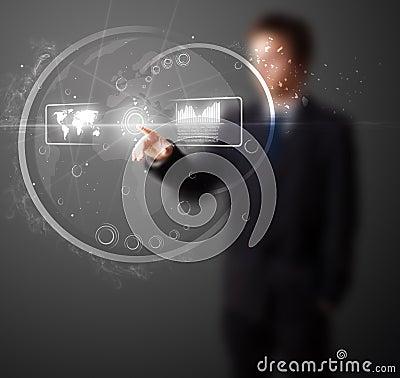 Man pressing high tech type of modern buttons