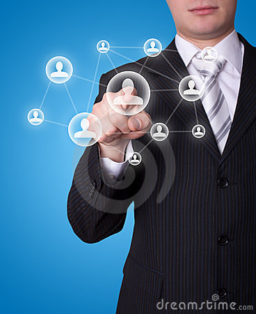 Man pressing social network button