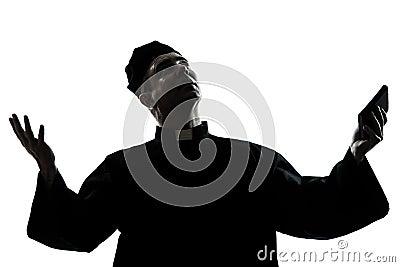 Man priest silhouette