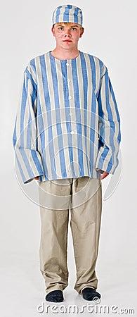 Man in Prisoner Costume