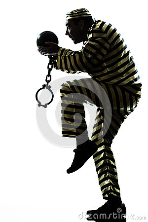 Man Prisoner Criminal With Chain Ball Escaping Stock Photography - Image: 25981432