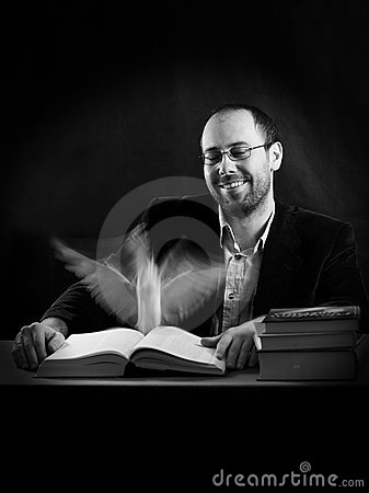 Man professor with books learning and soul