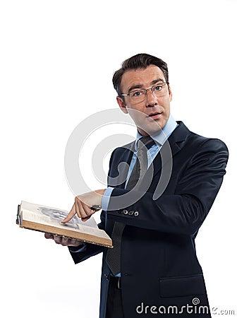Man professsor teacher teaching reading a book