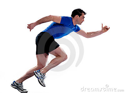 Man profile running sprinting full length