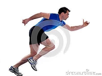 Man profile running sprinting full length