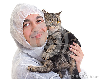 Man in protective clothing holding a cat, isolated