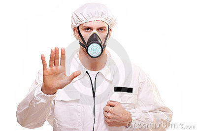 Man in protective wear
