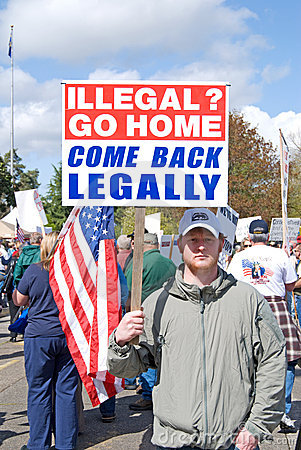 Man protesting illegal aliens. Editorial Image