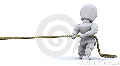 Man pulling on rope