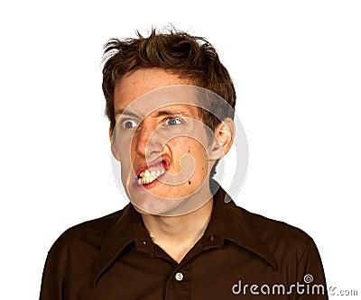 Man Pulling a Strang Face