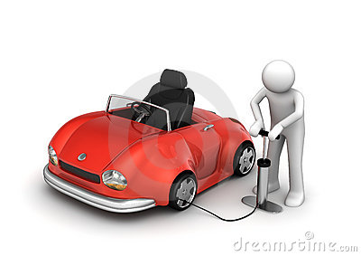 Man pumping red cabrio s tyre