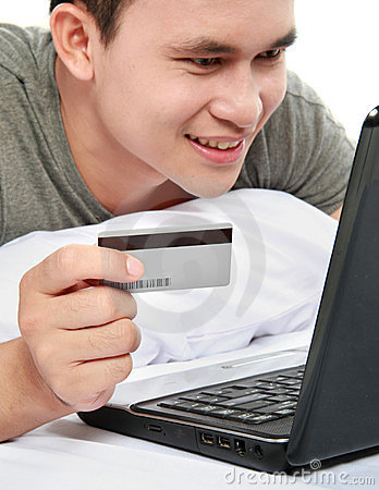 Man purchasing online using credit card