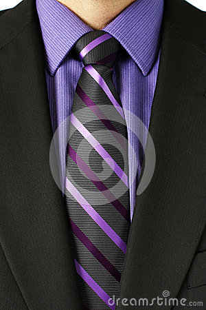 Man with purple striped tie